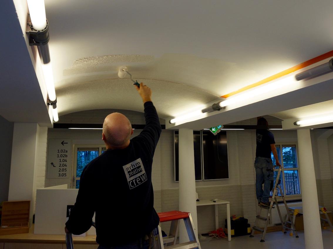 Montage BuzziSkin plafondbekleding hogeschool de Kempel Helmond